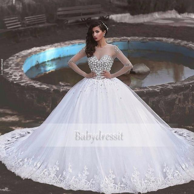 Arabische Brautkleider | Luxus Langarm Arabische Hochzeitskleid 2017 Sheer Lange Kristalle
