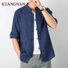 7a570970064587 KUANGNAN Chiński Styl Mężczyźni Koszula Pół Rękawa Jednolity Casual  Streetwear Mężczyźni Koszula Człowiek Pościel Bawełniana Koszula