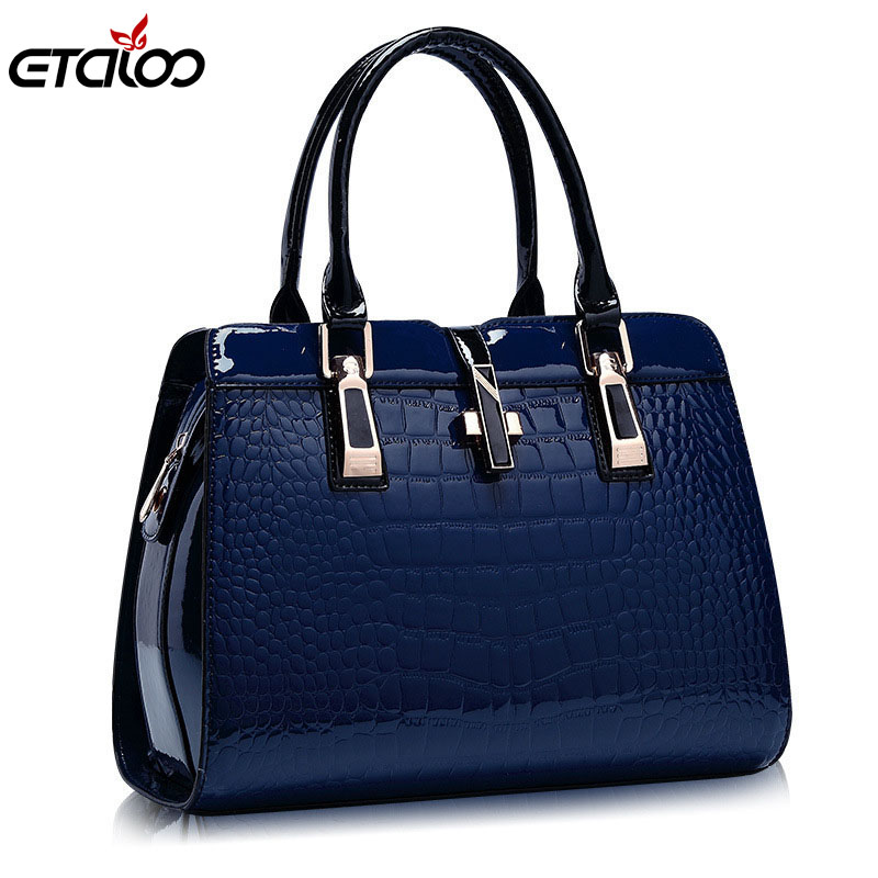 Europe women leather handbags PU handbag leather women bag patent handbag h..