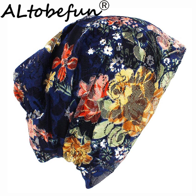 ALTOBEFUN Autumn Spring Thin Women   Skullies     Beanies   Lady Fashion Lace Design Hats For Girl Hot Feminino Turban Caps HT901