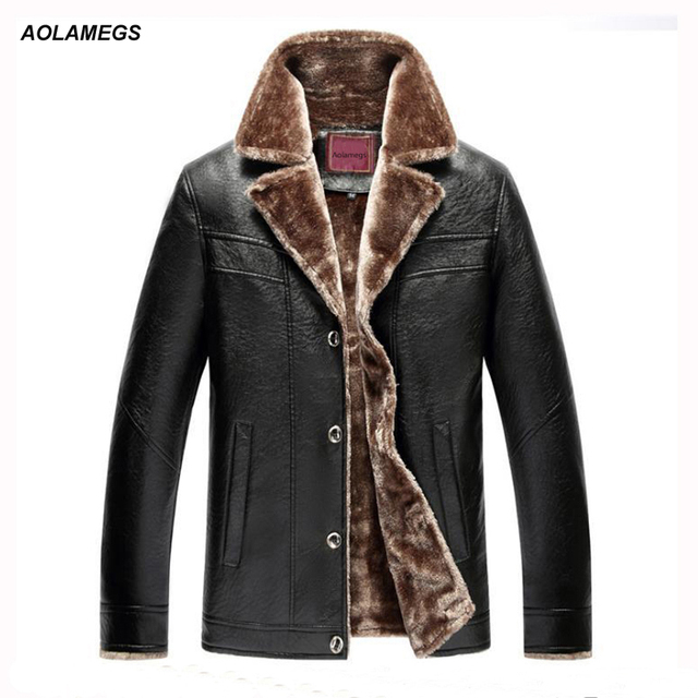 0dd410c58d2 Aolamegs Winter Leather Jacket Men Thick Warm Fur Lining PU Leather Jackets  Coat Business Casual Parkas Coat Plus Size 5XL 6XL