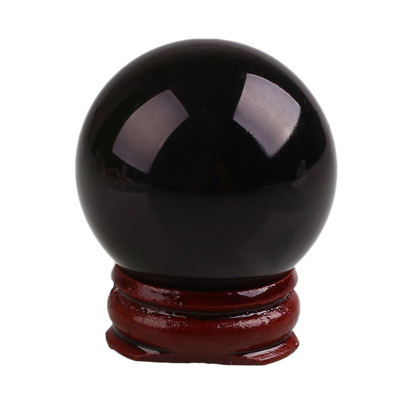 Crystal Ball Healing Stone With Holder Obsidian Sphere Decoration Crafts Home Desktop Decorative Tools Glass Balls Black