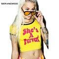 Blusa Entallada de Impresión Digital de Manga corta 2016 Verano Inconformista Punky Camiseta Atractiva Mujeres Pizza Slut Short Tees Camisetas Mujer SM4T034