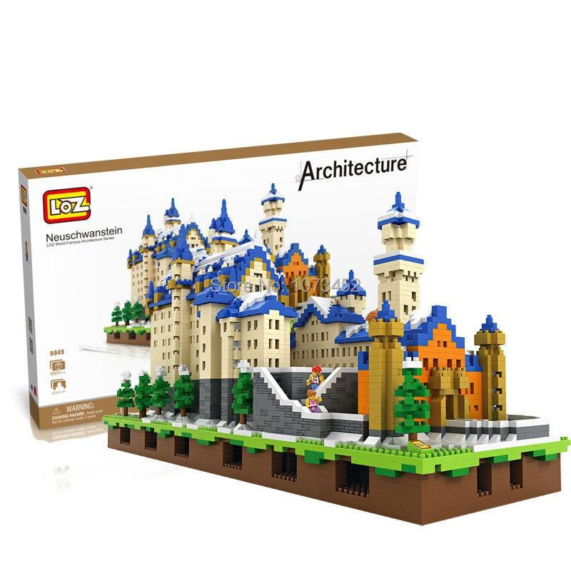 6800 pièces diamant blocs de construction loz célèbre architecture série Neuschwanstein modèle avec effet lumineux et petites figurines