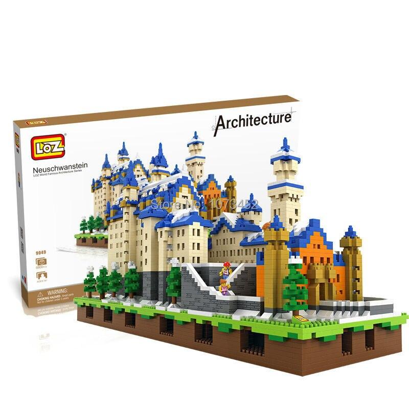 6800 pz blocchi di diamante loz World famous architettura serie di Neuschwanstein modello con effetto di luce e piccole figure