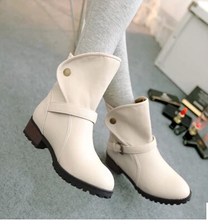 British winter low fashion female boots flat with Martin boots female students with female nude white short boots big yards