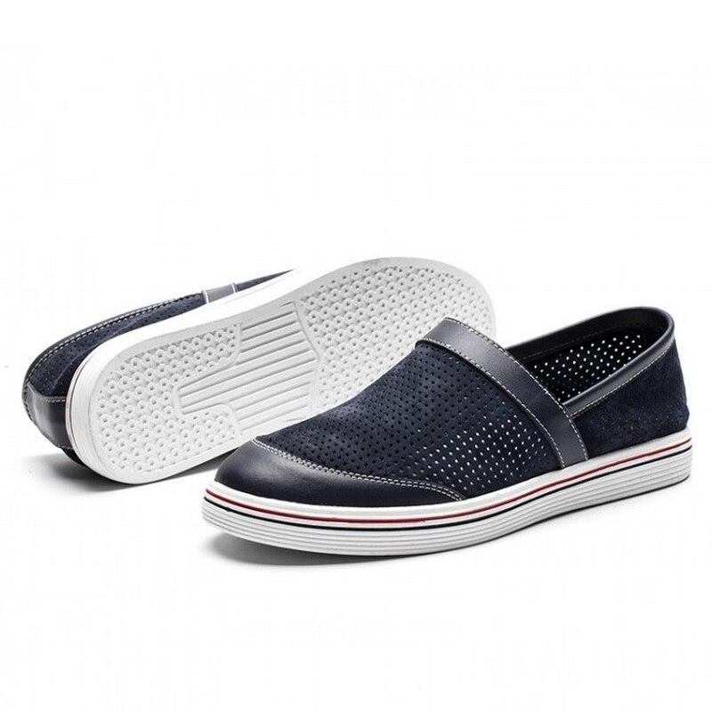 marron Chaussures Respirant Cuir Homme Beige Sur bleu Loisirs Évider Casual Sole D'été noir En Mocassins Souple Slip Marque Aa50241 qEx4nURnw
