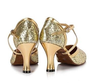Neues Freies Verschiffen Gold Glitter Closed Toe Tanzschuh Ballsaal Salsa Latin Walzer Tango Bachata Tanzen Schuhe ALLE Größe