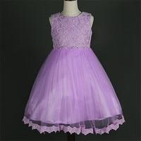 Party Baptism Dress For Infant Baby Girl New Sleeveless Print Flower Pleated Dresses O Neck For