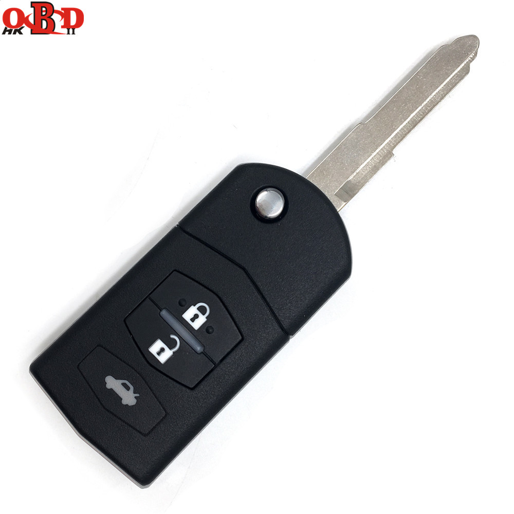 HKOBDII High quality,For Mazda 2 Flip Remote Key 3 Buttons 433MHZ with 4D63 chip M2