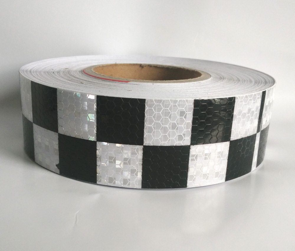 5CM x 45M Commercial Grade Reflective tape for truck White with black square printing truck conspicuity