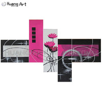 Hand Painted 5 Piece Modern Abstract Oil Paintings Purple Flower Painting on Canvas Art Pictures For Living Room Home Decor