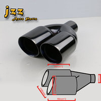 1Pcs Universal Dual Car Exhaust Pipe Muffler Tip Stainless Steel Tail Tip Tail Pipe