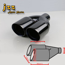 Universal blue/black Dual car exhaust tip silencer Stainless Steel Muffler tail tip tail pipe