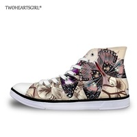 Twoheartsgirl Pretty Butterfly Print High Top Canvas Shoes for Women Casual Female Ladies Lace Up Flats Vulcanize Sneakers
