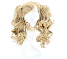 QQXCAIW Длинные Волнистые Косплей Смешанная Блондинка С 2 Ponytails 50 См Парики Из Синтетических Волос