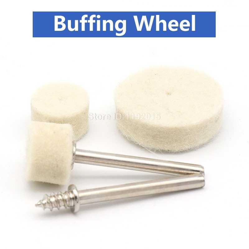 """10 יחידות טחינת ליטוש מרוט עגול גלגל כרית צמר הרגיש + 1 מוט 3.2 מ""""מ שוק מתכת משטח עבור Dremel אביזרי כלים רוטרי"""