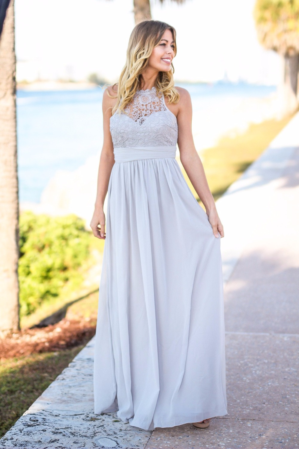 Silver Gray Lace Top 2019   Bridesmaid     Dresses   Long Sleeveless Open Back Country Style Rustic Sexy Maids of Honor Gowns Cheap