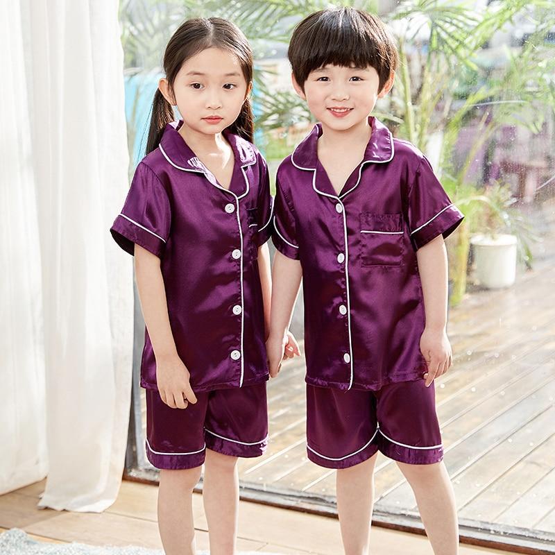 Boys Silk   Pajamas   2019 Summer Short Sleeve Children's Clothing Girl Sleepwear   Sets     Pajamas   Suit Girls Pyjamas   Sets   for Kids