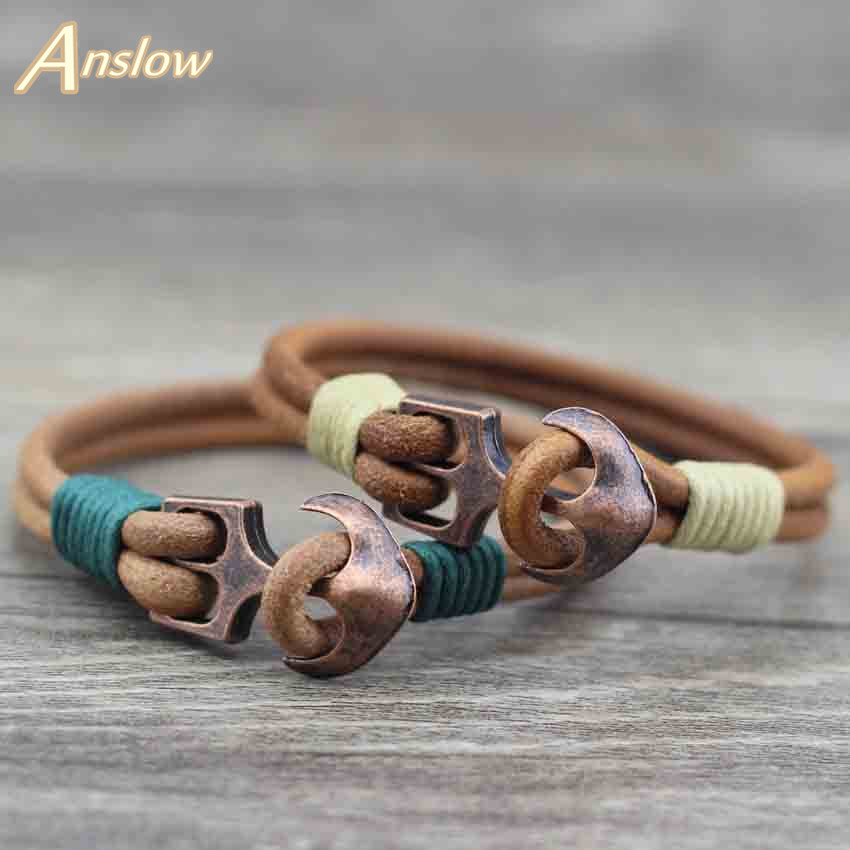 Anslow Brand Fashion Smykker Classic Anchor Mænds Friendship Charm Armbånd Læder Bangle Armbånd For Women Gift LOW0093LB