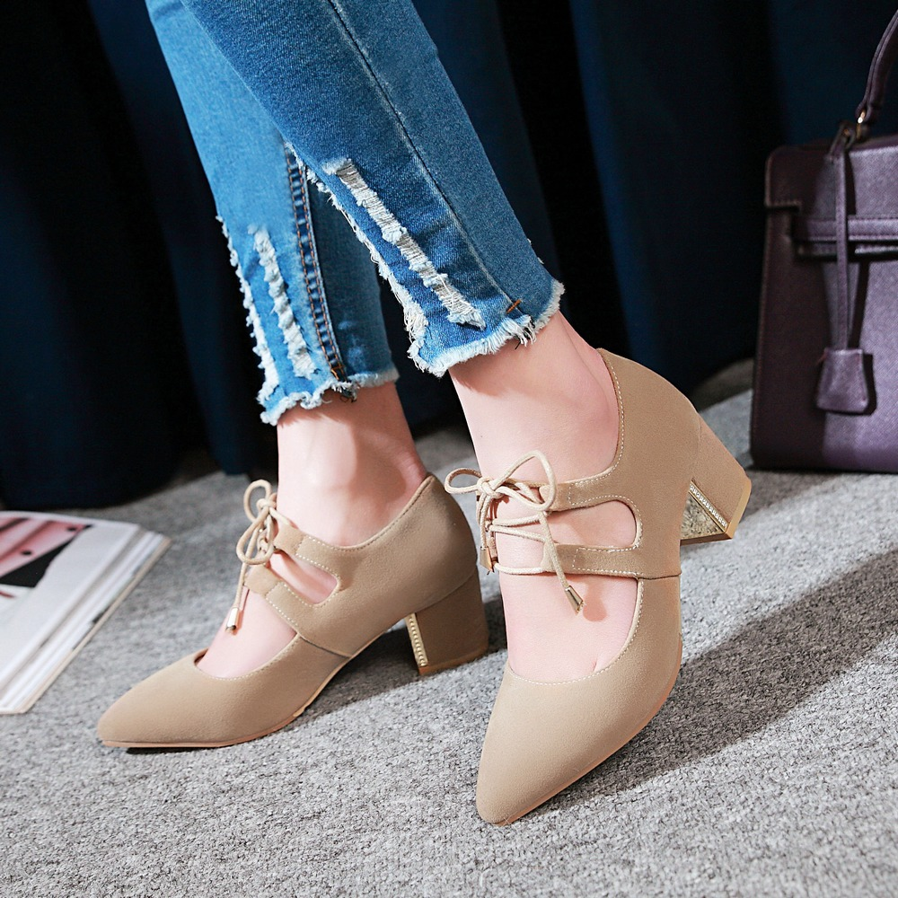 ФОТО BISI GORO plus size 48 pointed toe women heels shoes lace up high heel pumps women chunky yellow shoes ladies black heels 2017