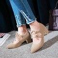 Tamanho grande 34-48 mulheres dedo apontado sapatos de salto lace up alta heel bombas das mulheres do salto robusto sapatos amarelos senhoras saltos pretos 2017