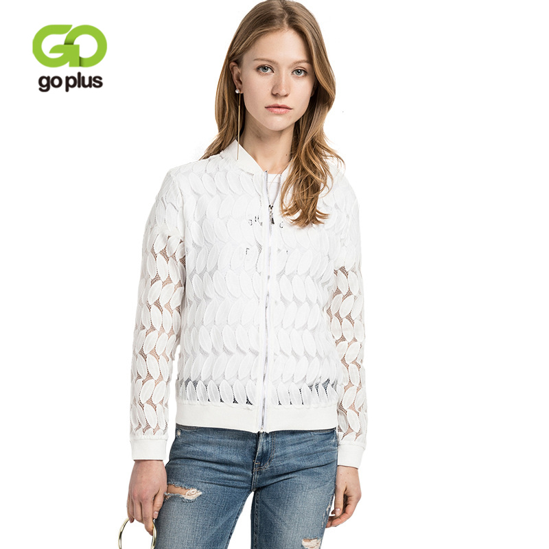 GOPLUS 2019 Fashion Spring Hollow Out Jackets Women White Floral Lace Zipper Outcoat O-Neck Slim Casual Elegant Jacket Female