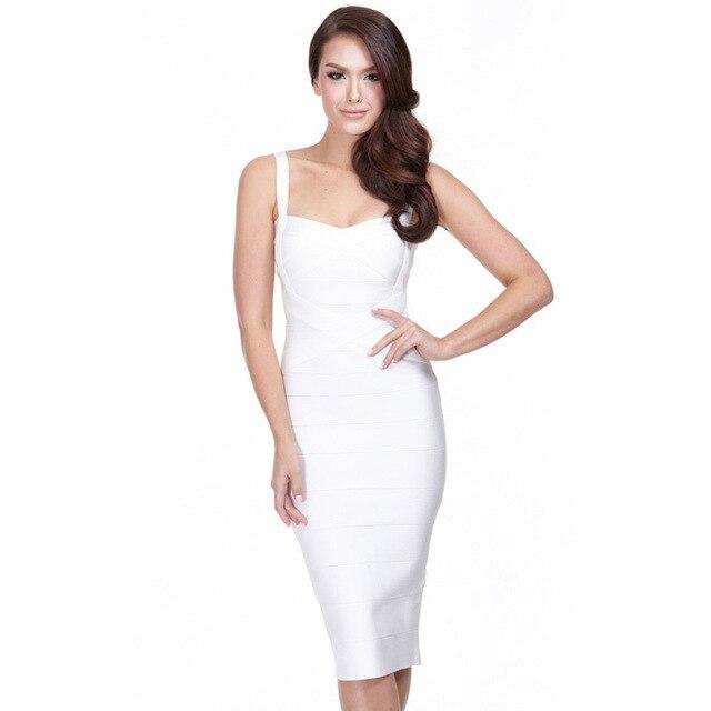 US $28.8 20% OFF Aliexpress.com : Buy BEAUKEY Fashion Women Strap Midi  Bandage Dress Party Solid Elastic Prom Bodycon Dress white Plus size XL  from ...