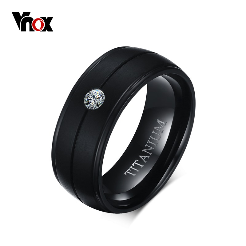 VNOX Men's Punk Pure Titanium Black Ring 8mm Matte Wedding Bands with CZ Stone Titanium Rings Men Jewelry Wholesale anel feminino cheap pure titanium jewelry wholesale a lot of new design cheap pure titanium wedding band rings