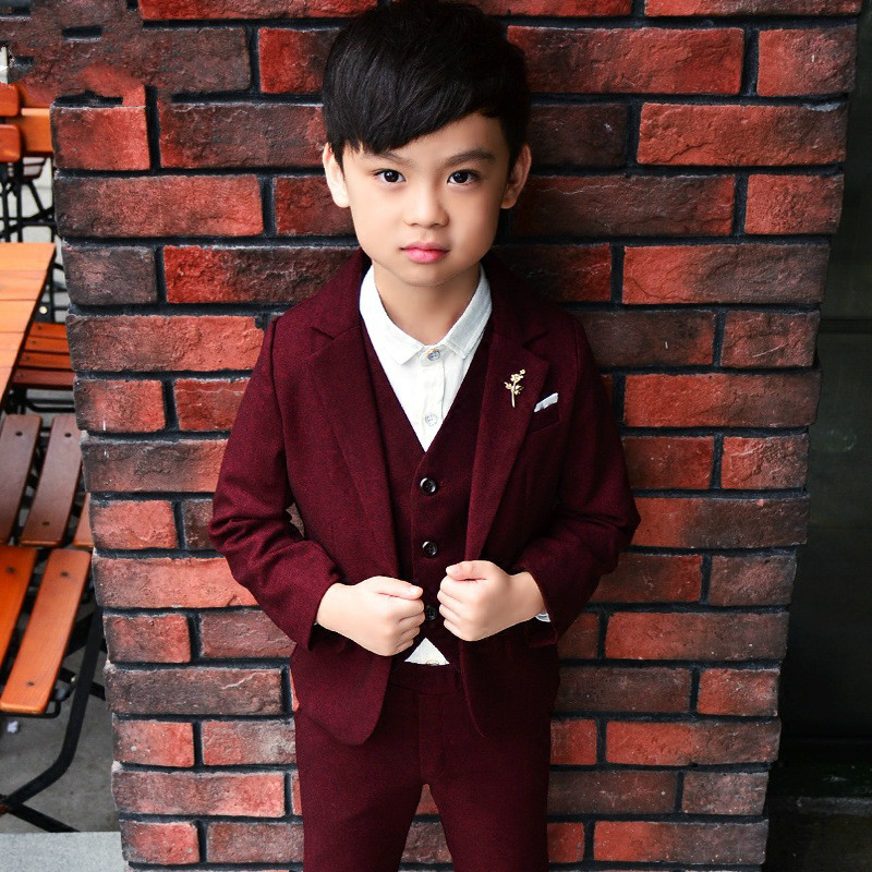 2018 New Boys Suits for Wedding Autumn Winter Boys Wedding Suit Formal Suit for Boy Party Suits Blazer Boy Clothing 3-10T boys suits 3 piece wedding suit prom page boy baby formal party 3 colours