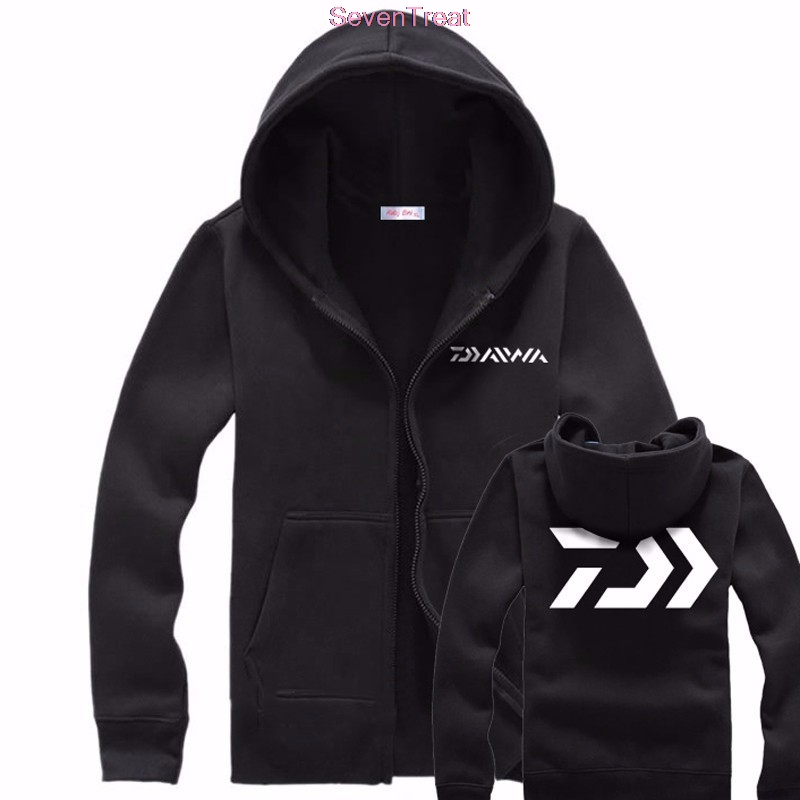 Daiwa Autumn Winter Warm Male Black Gray Men Fishing Clothes Zippers Sweater Shirt Jacket Outdoor Sports Fishing Hooded Jacket Demand Exceeding Supply