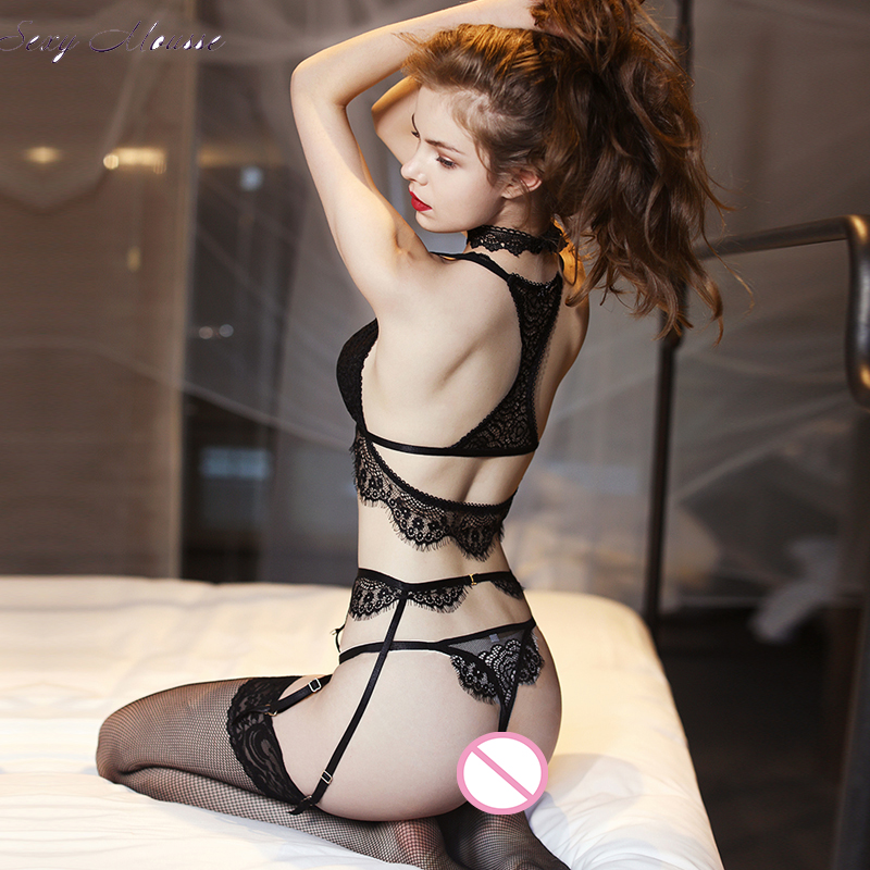 Sexy Mousse See Through Bra And Panties With Garter  G-string Seamless Women Lingerie  Black White Sexy Lace Beautiful Back