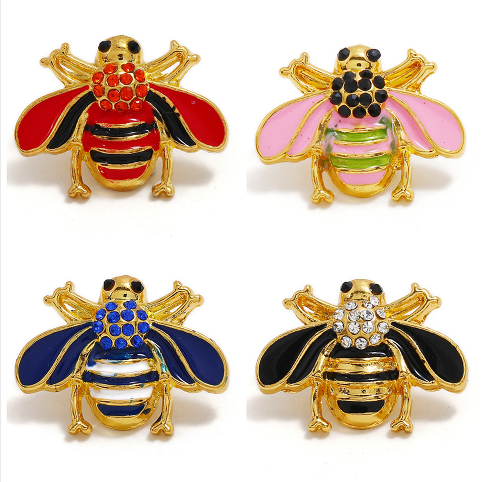KZ1531 New Beauty Oil Goden Lovely Bee Metal 20mm Snap Buttons Fit 18mm Snap Jewelry Wholesale