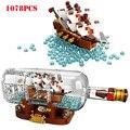 Творческие идеи Пираты Карибского корабля в бутылке строительный блок Technic Minecrafts город просветить Кирпичи игрушки для детей