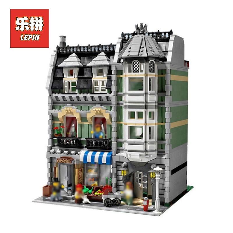 LEPIN 15008 2462Pcs Fire Brigade City Street Green Grocer Creators Buildings Blocks Bricks toys for chilren LegoINGlys 10185 конструктор lepin creators зеленая бакалейная лавка 2462 дет 15008