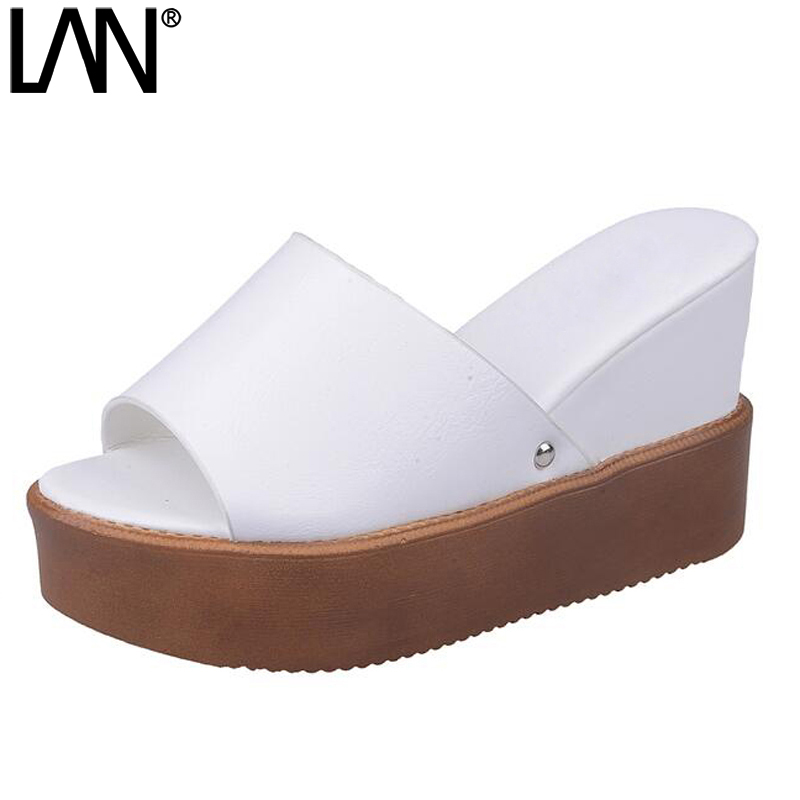 LANSHULAN 2017 Summer Women Sandals Fashion Peep Toe Platform Creepers Causal Shoes For Women Faux Leather Slides Flip Flops lanshulan wedges gladiator sandals 2017 summer peep toe platform slippers casual glitters shoes woman slip on flats creepers