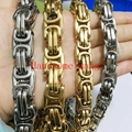 "Top Hot Sell 12/15mm Width 316L Stainless Steel Silver Gold Cuban Link Chain Necklace&Bracelet Cool Mens Boys Customize 7""-40"""