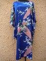 Синий Традиционный Китайский женщин Silk Район Одеяние Платье Лето Ночная Рубашка Цветок Кимоно Платье Пижамы Плюс Размер A110