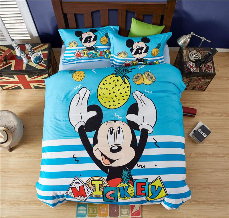 Cool coton mickey mouse ensemble de couette simple double pleine reine taille housse de couette bleu ponçage linge de lit ananas taie d'oreiller 40s