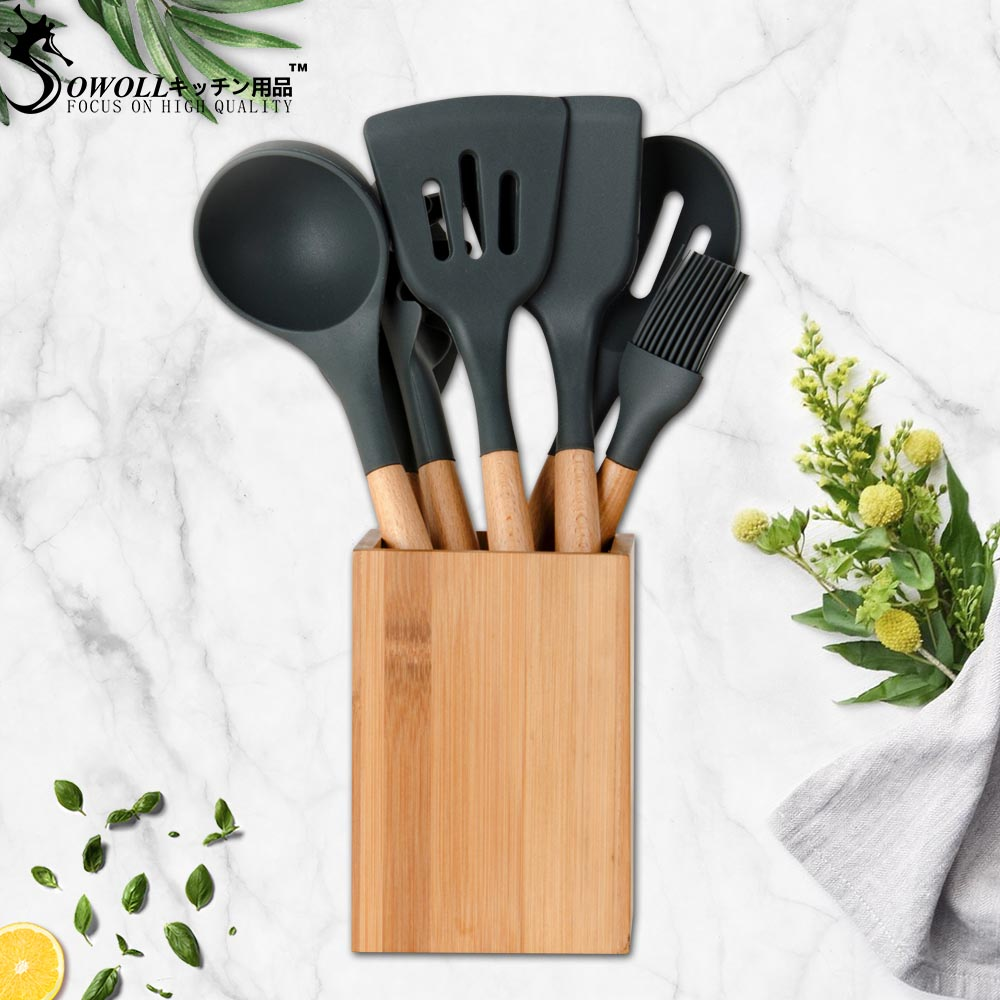 Sowoll Heat-resistant Silicone Kitchenware Cooking Set Knife Stand Spatula Soup Spoon Non-stick Special Cook Shovel Kitchen Tool