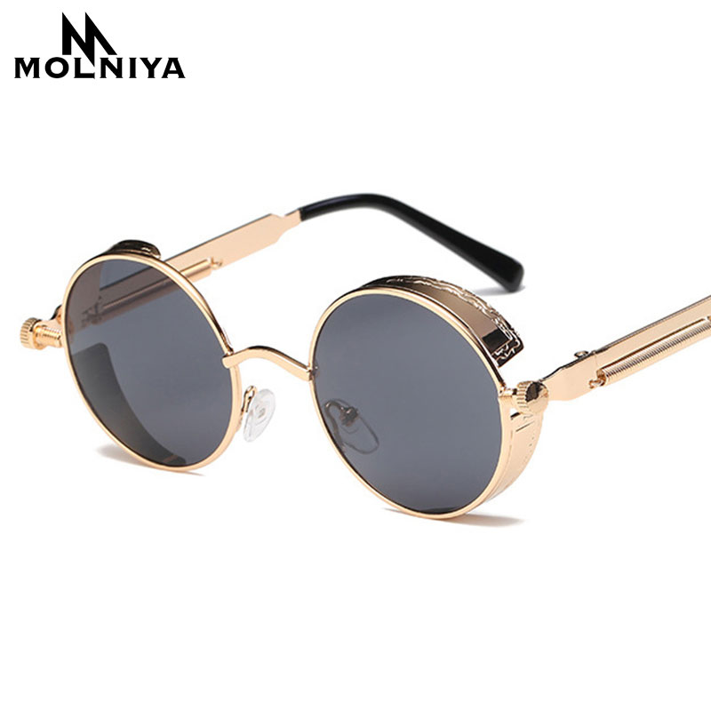Metal Round Steampunk Sunglasses Men Women Fashion Glasses Brand Designer Retro Frame Vintage Sunglasses High Quality UV400 chic metal bar embellished full frame sunglasses for women