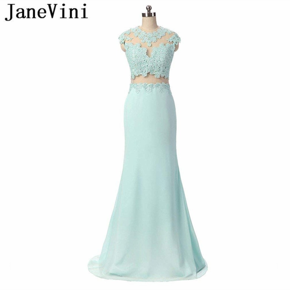 JaneVini Charming Mermaid Long   Bridesmaid     Dresses   with Lace Applique Beaded Jewel Sheer Back Chiffon Sweep Train Robe Mousseline