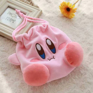 1 Pc Lovely Star Kirby Pocket Bag Coin Purse Plush Toy