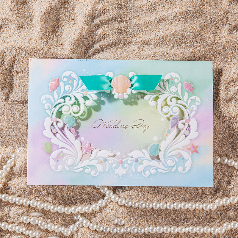 Ocean Colorful wave Laser Cut Wedding Invitations Printing Invitation Cards Kit Blank Inside Paper Print Customize design laser cut lace flower bird gold wedding invitations kit paper blank convite casamento printing invitation card invite