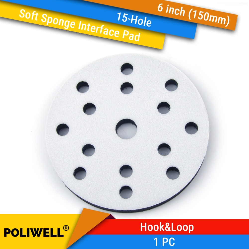 6 Inch(150mm) 15-Hole Soft Sponge Dust-free Interface Pad for 6 Back-up Sanding Pads for Power Tools Uneven Surface Polishing6 Inch(150mm) 15-Hole Soft Sponge Dust-free Interface Pad for 6 Back-up Sanding Pads for Power Tools Uneven Surface Polishing
