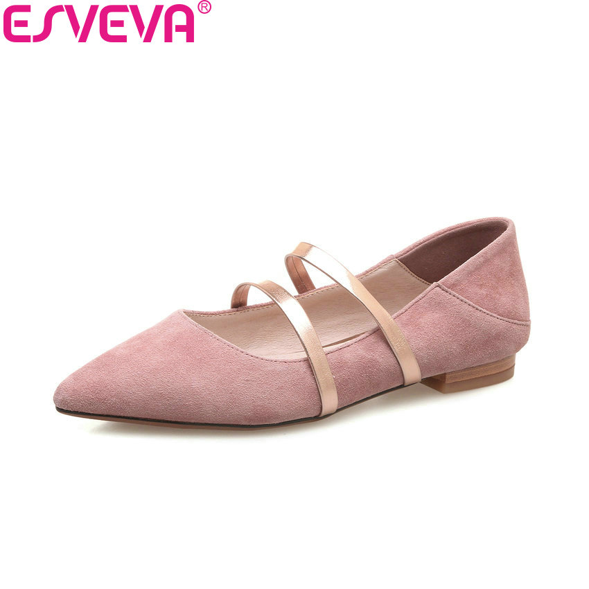 ESVEVA 2018 Women Pumps Pointed Toe Sweet Style Kid Suede PU Square Low Heels Slip on Spring and Autumn Ladies Shoes Size 34-39 esveva 2017 spring autumn british style real leather women pumps buckel square toe women shoes square low heel pumps size 34 39