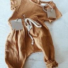 Г. Летние льняные комплекты для маленьких мальчиков и девочек модные повседневные комплекты одежды Топы+ штаны-шаровары детская одежда в европейском и американском стиле