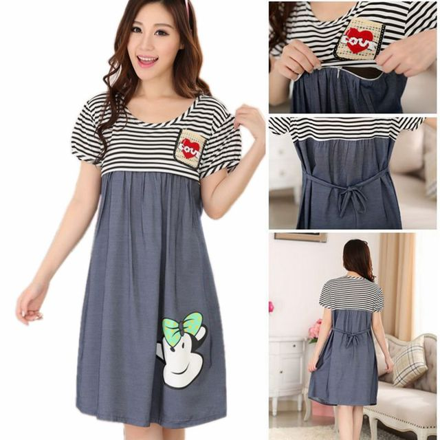 0c14d951c Maternity Clothing New Cotton Short Casual Knee-length Breastfeeding Clothes  for Pregnant Women Nursing Home Clothing Mother