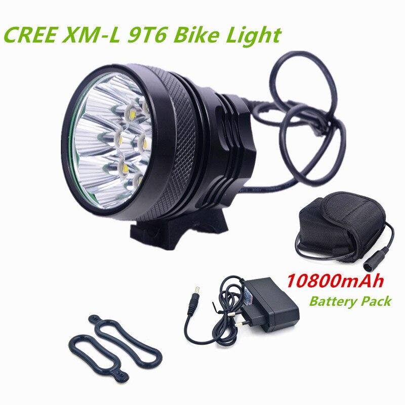 Éclairage vélo vélo lampe de Poche 9 led 12000lm Rechargeable 18650 Batterie vélo lumière vélo led luces bicicletas lampe de vélo