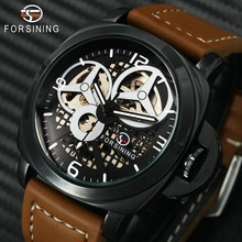цены FORSINING Fashion Men Auto Mechanical Watch Brown Leather Strap Skeleton Dial 3D Index Design Top Brand Luxury Wrist Watches